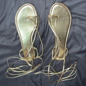 Gold ankle strap sandals 8.5